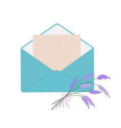 Letter in blue envelope with bouquet of lavender vector