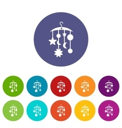 Baby bed carousel set icons vector
