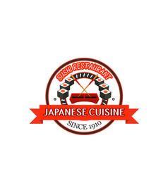 japanese restaurant badge design of seafood sushi vector image vector image
