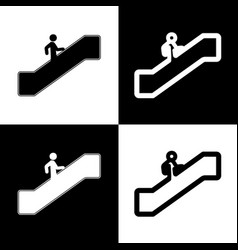man on moving staircase going up black vector image vector image