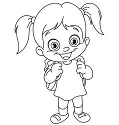 outlined schoolgirl vector image