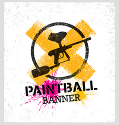 paintball marker gun splat banner on grunge vector image