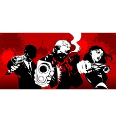 three killers in red vector image vector image