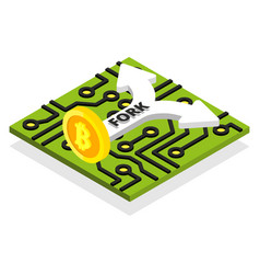 bitcoin fork with processor board and arrow vector image