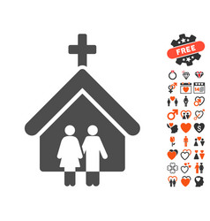 family church icon with love bonus vector image vector image