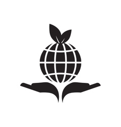 Flat icon in black and white hands planet vector