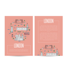 london city traveling advertising in linear style vector image