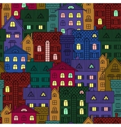 Night background of colorful houses vector image vector image