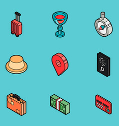 traveling color outline isometric icons vector image