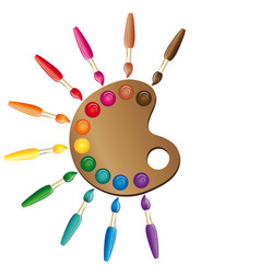 wooden art palette with paints and brushes color vector image
