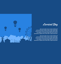 background of amusement park scenery silhouette vector image vector image