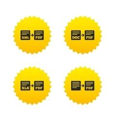 Export file signs Convert DOC to PDF symbols vector image
