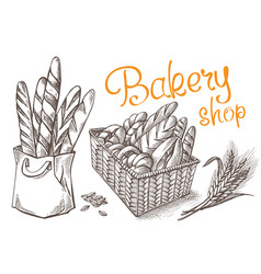 fresh bakery set vector image