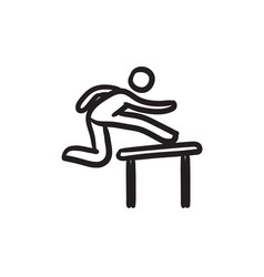 Man running over barrier sketch icon vector