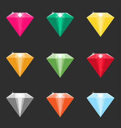 set of cartoon diamonds crystals in different vector image