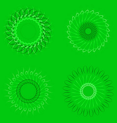 spirographs on a green background vector image vector image