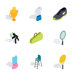 tennis game icons isometric 3d style vector image vector image