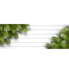 Wooden background with fir branches vector image