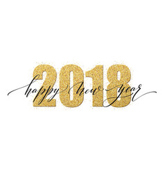 2018 happy new year numbers golden glitter design vector
