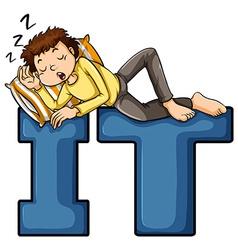 A boy sleeping vector image