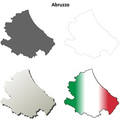 Abruzzo blank detailed outline map set vector image