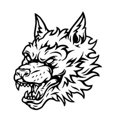 Aggressive scary wolf head tattoo concept vector