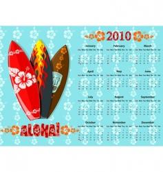 Aloha calendar 2010 vector