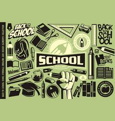 back to school set icons logos symbols vector image