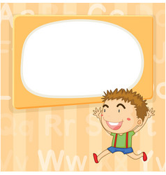 Background template with cute boy vector