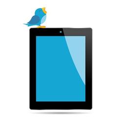 Bird tweeting on a tablet vector