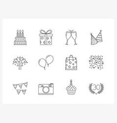 birthday line icons vector image