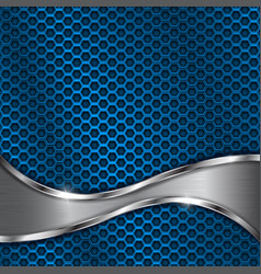 blue metal perforated background with steel wave vector image