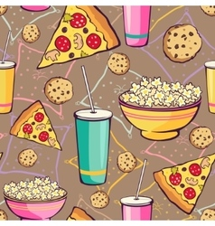 Brown Slumber Party Food Seamless Pattern vector image