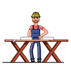 builder exploring the drawings vector image