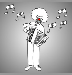 Businessman playing piano accordion vector