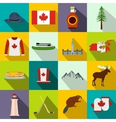 canada icons flat vector image
