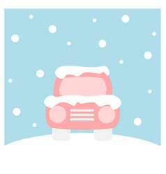 Car covered with snow - winter flat icon set vector