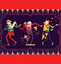cartoon circus clown character vector image
