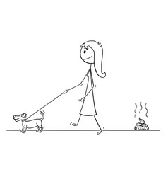 cartoon of woman walking with small dog leaving vector image