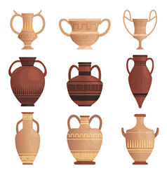 clay jug ancient amphora with pattern greek cup vector image