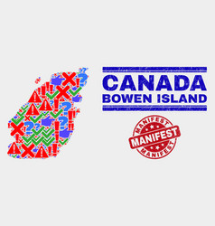 Collage bowen island map symbol mosaic and vector