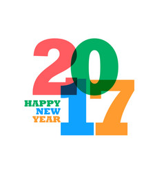 Colorful 2017 happy new year text on white vector