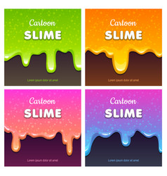 Colorful glittery slimy dribbles slime vector