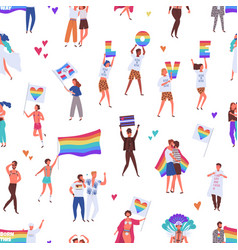 Colorful pride parade seamless pattern crowd of vector