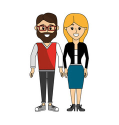Couples man with glasses and his wife vector