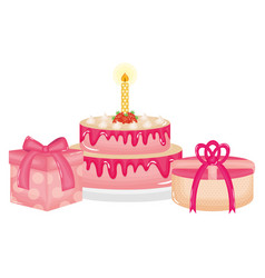 Delicious sweet cake with candle and gifts vector