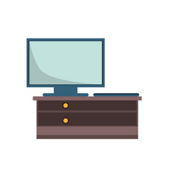 desk with television screen vector image