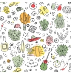 doodles seamless pattern mexico with imitation vector image