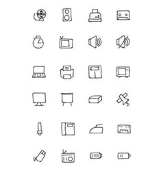 Electronics Hand Drawn Doodle Icons 2 vector image