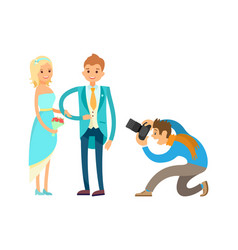 engagement ceremony newlywed couple photographer vector image
